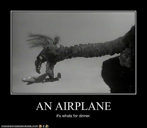airplane,bird,dinner,puppet,the giant claw