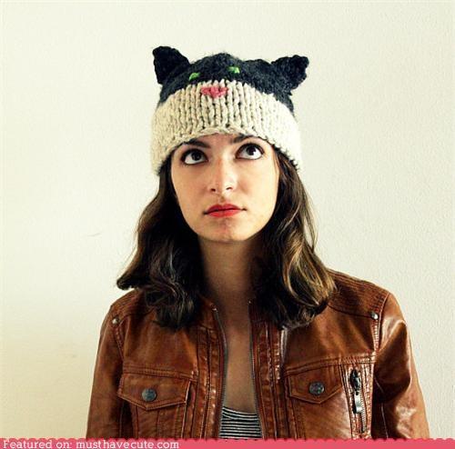 cat ears halloween hat kitty Knitted yarn - 5347198208