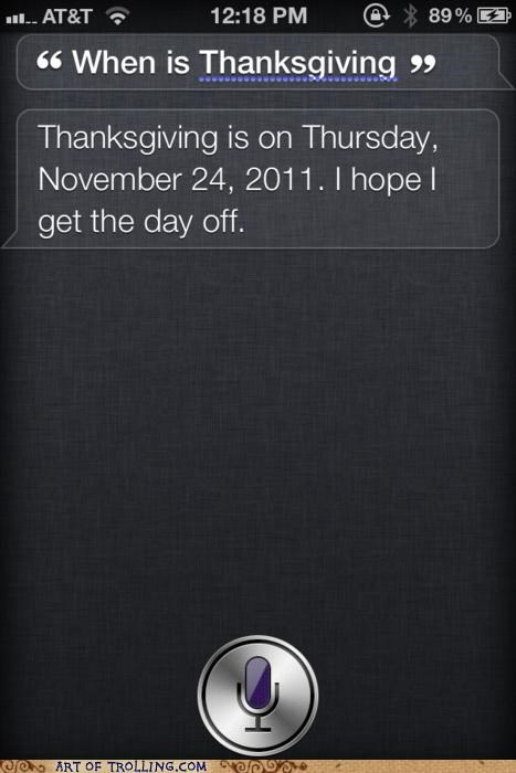 day off,siri,thanksgiving