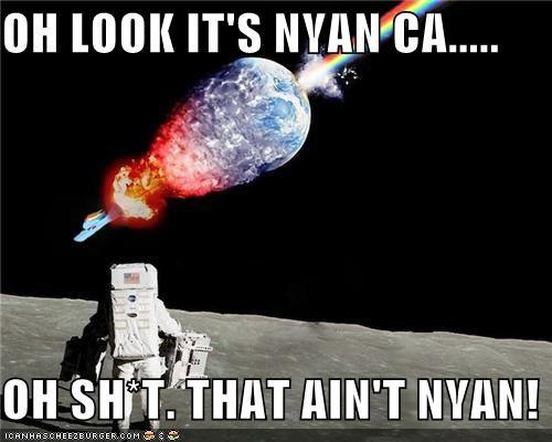 astronaut earth moon Nyan Cat rainbow dash rocket space - 5347320832