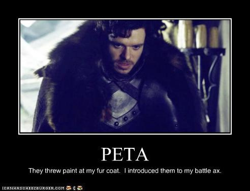 battle axe,fur coat,Game of Thrones,peta,Richard Madden,Robb Stark
