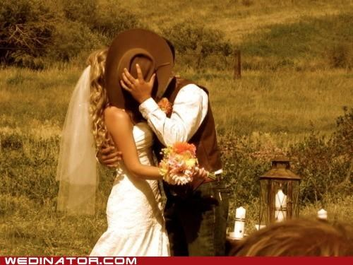bride,cowboy,funny wedding photos,groom,hat,KISS