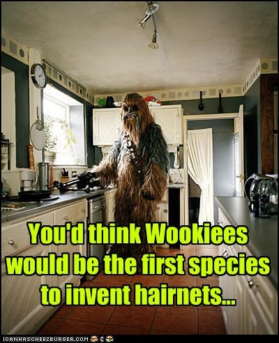 chewbacca,cooking,hairnets,species,star wars,Wookies