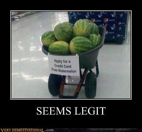 cart credit card hilarious seems legit watermelon - 5350729472