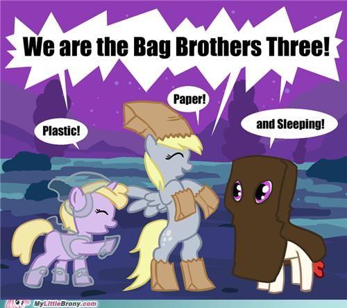 bag brothers derpy hooves dinky paper bag plastic bag ponies sleeping bag - 5351044352