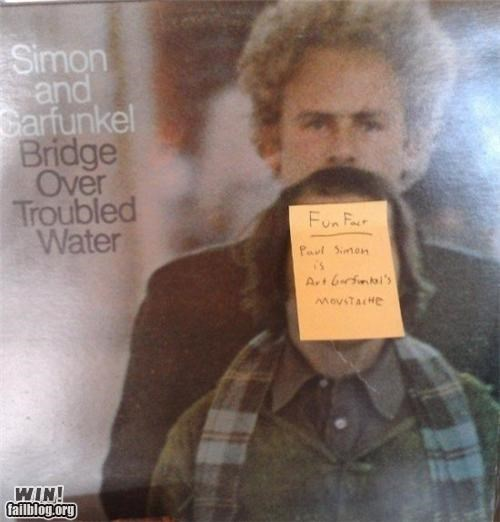 album cover,hacked irl,Music,mustache,silly,Simon and Garfunkel