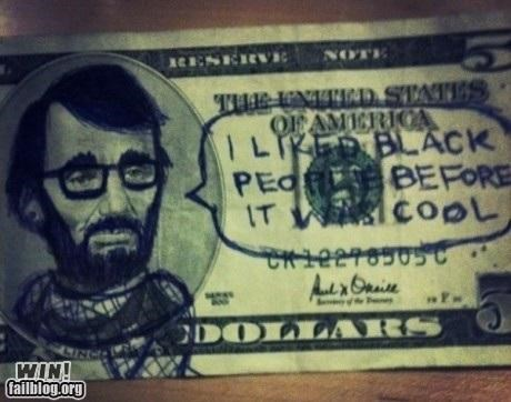 abraham lincoln cash currency hacked irl hipster money - 5351241728