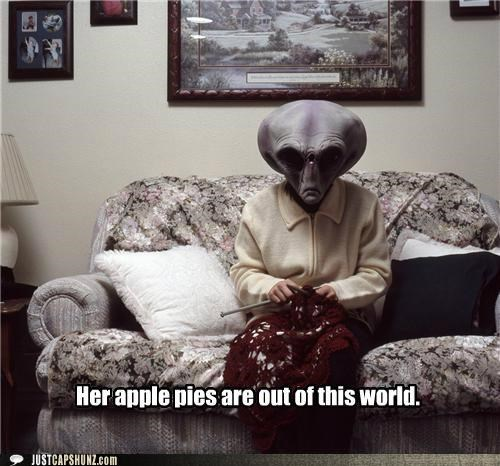 alien,alien gramma,alien grandma,angry alien gramma,apple pie,caption contest,Knitta Please,knitting,out of this world