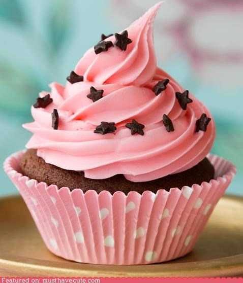 chocolate,cup,cupcake,epicute,frosting,pink,sprinkles,stars