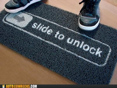apple,slide to unlock,welcome mat