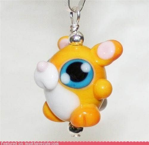 bunny chain glass Jewelry necklace pendant yellow - 5351648768