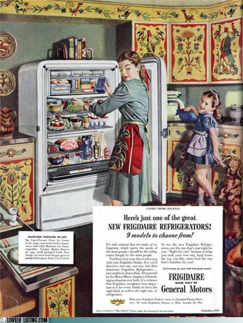 Ad,cabinets,fridge,kitchen,painting,vintage