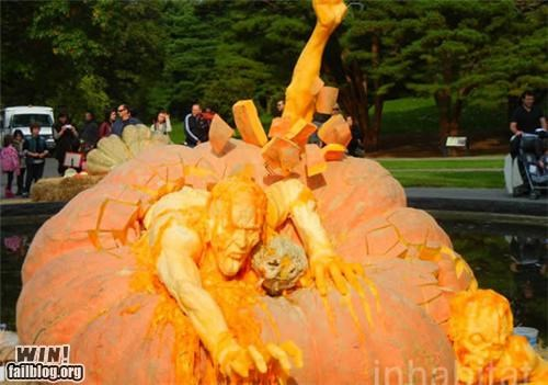 carving,Hall of Fame,halloween,nerdgasm,pumpkins,sculpture,zombie