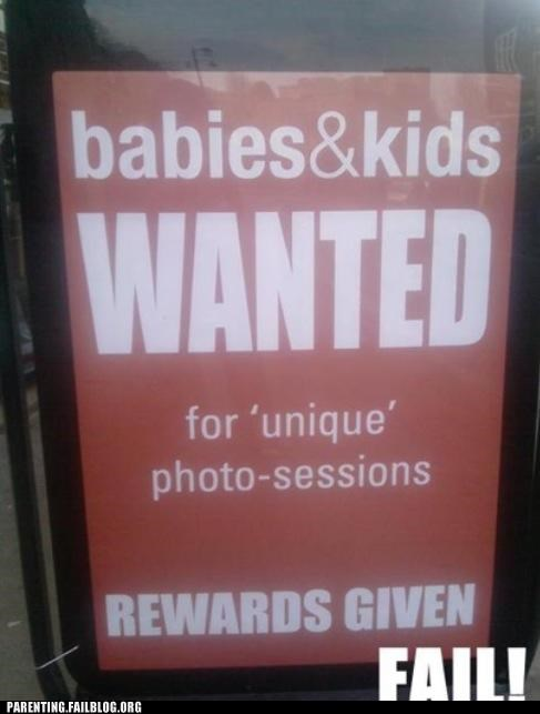 advertisement creepy Parenting Fail pedobear photo shoot photography sign - 5351680000