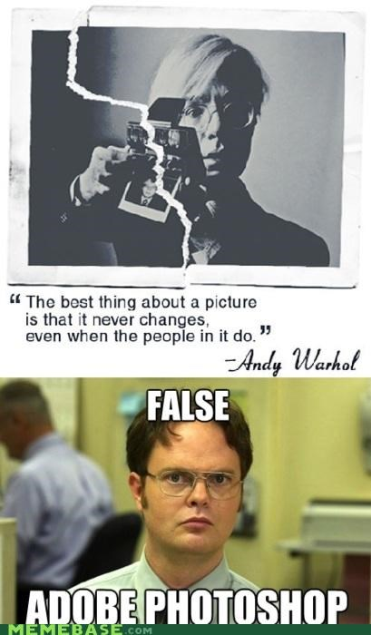 adobe,Andy Warhol,dwight,false,Memes,photoshop,picture