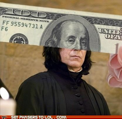 Alan Rickman,Benjamin Franklin,dollar bill,Harry Potter,hundred,money,Severus Snape