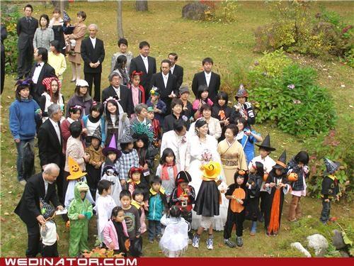 bride,children,costume,funny wedding photos,groom,halloween,wedding