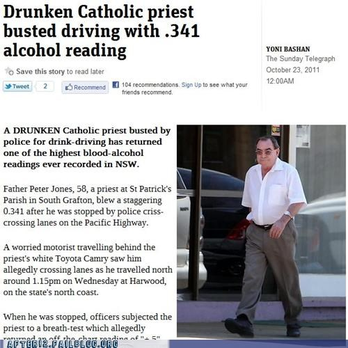 bac,booze news,busted,catholicism,drunk driving,priest,the power