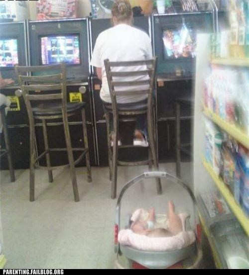 casino,distracted,mom,Parenting Fail,slot machine,store,wait what
