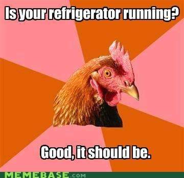 animemes,anti joke chicken,electricity,plan,refrigerator,running
