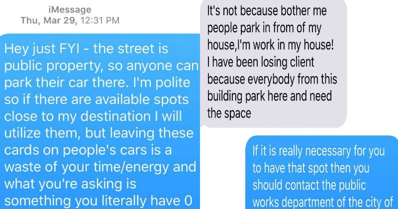 woman demands people don't park in the public parking near her house