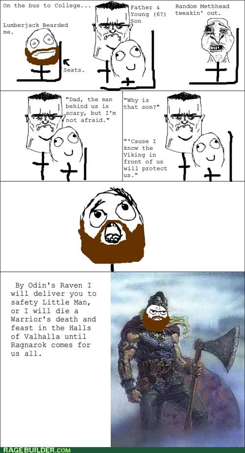 beard,best of week,bus,kid,Rage Comics,viking