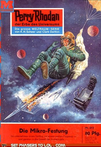 books,cover art,german,parachute,rocket,space,wtf