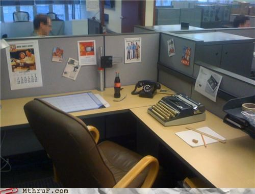 50s,classy,cubicle,decoration,old,prank