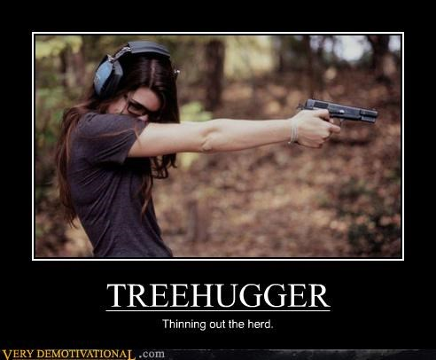 gun hilarious shooting treehugger