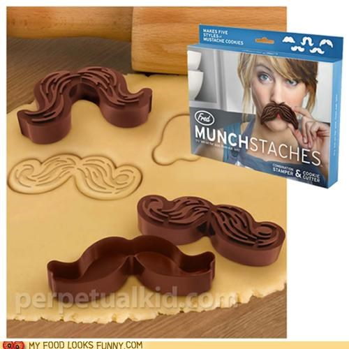 cookie cutters,cookies,mustache,snacks