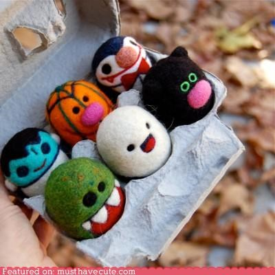 cute eggs felt ghost halloween kitty pumpkins spooky vampire wool