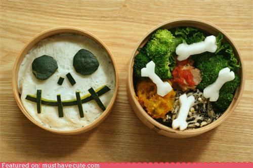bento bones epicute halloween lunch skull