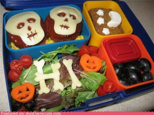 bento bones cheese epicute lunch pumpkins skulls