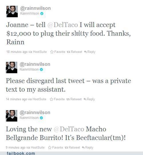 ads,Del Taco,rainn wilson,twitter,Twitter Troubles
