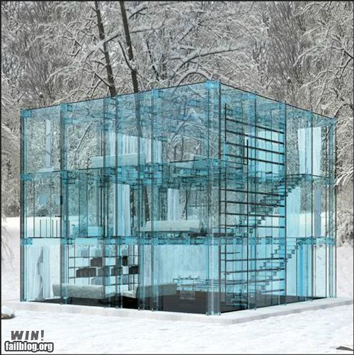 architecture building design Forest glass house snow winter