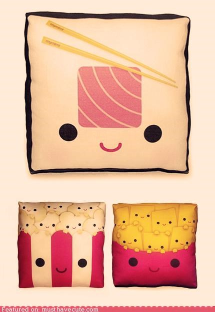 cushions,face,fries,pillows,Popcorn,printed,sushi