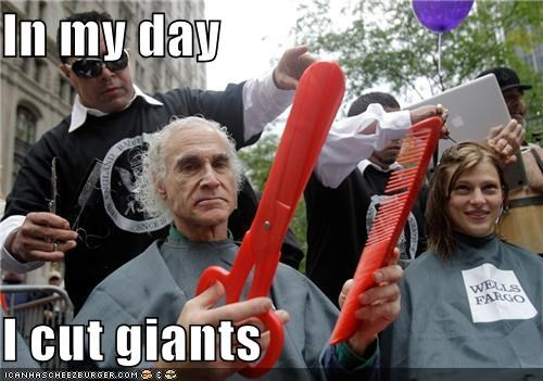 barber,giants,hair cut,Occupy Wall Street,political pictures