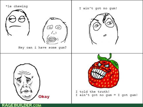 double negative,gum,Rage Comics,strawberry guy