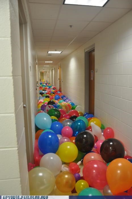 Balloons,hallway,moar,more,this will not do,thousands of them