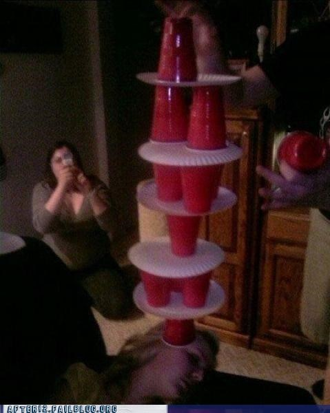 drinking,drunk,passed out,Red Solo Cup,stack,tower