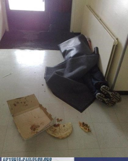 drunk floor mat passed out pizza pizza box wrapped up - 5356658944