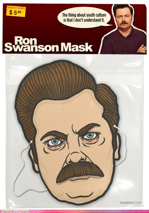 cool,funny,halloween,mask,Nick Offerman,parks and rec,ron swanson,TV