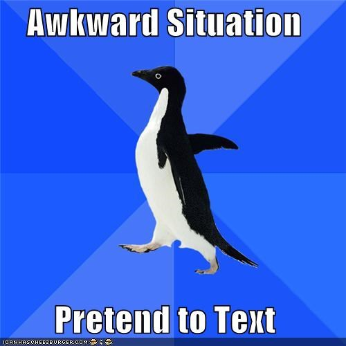Awkward,phone,situation,socially awkward penguin,text