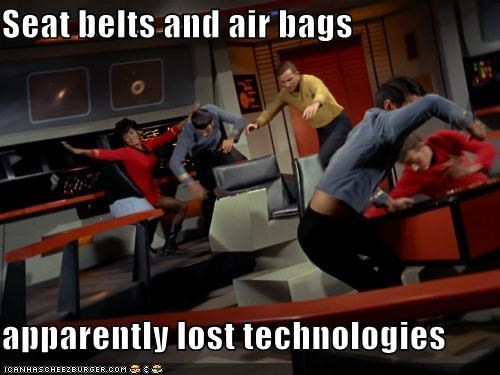 airbags,enterprise,lost,seatbelts,Shatnerday,Spock,Star Trek,technologies,uhura,William Shatner
