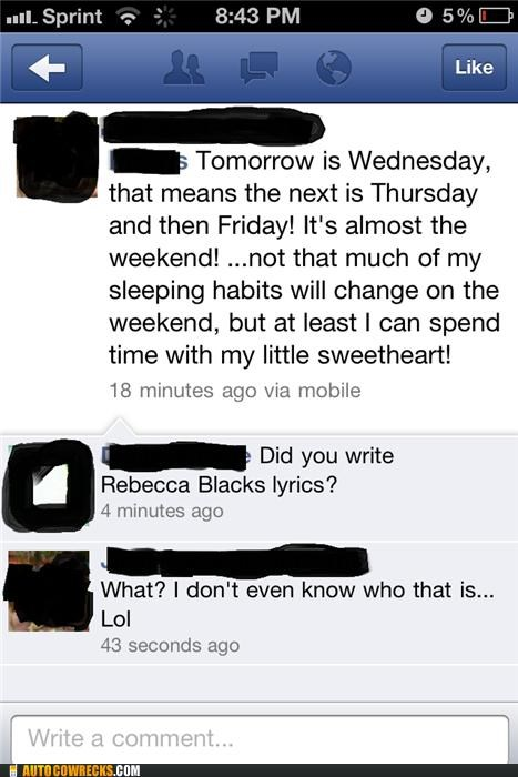 facebook,FRIDAY,Rebecca Black,status