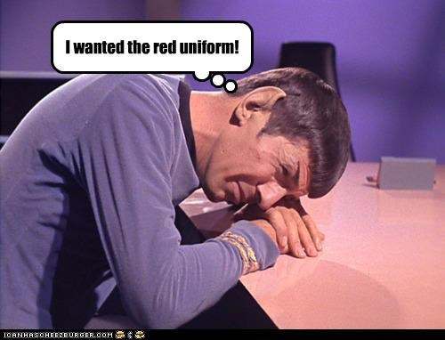 Leonard Nimoy red shirt Sad Spock Star Trek wanted - 5359345920