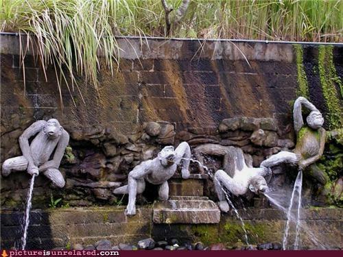 fountain monkey water wtf - 5359387904