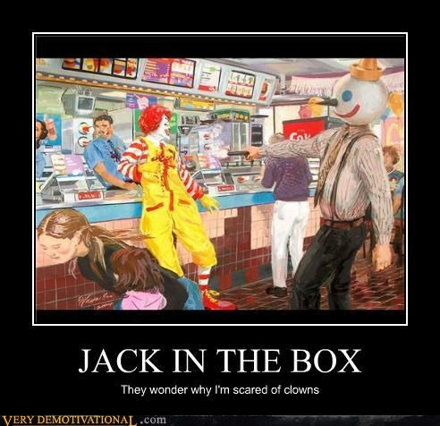 art,clowns,hilarious,jack in the box,McDonald's,scary