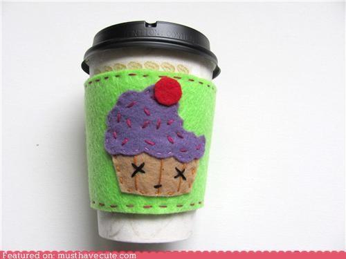 coffee,cup,cupcake,felt,halloween,hot,sleeve,zombie