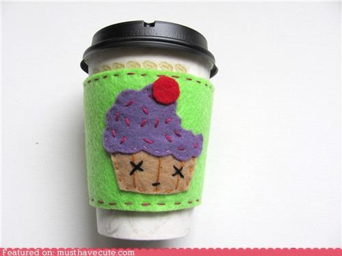coffee cup cupcake felt halloween hot sleeve zombie - 5359518208